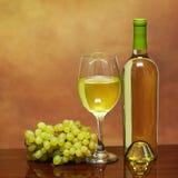 Wino butelka i szkło Biały wino z Świeżymi winogronami nad beżem Zdjęcia Royalty Free