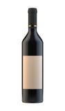 Wino butelka z pustą etykietką na białym tle Obrazy Stock