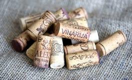 Wino butelki korki Zdjęcie Stock