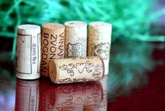 Wino butelki korki Zdjęcia Stock