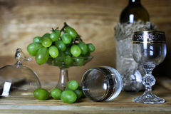 Wino butelki książkowy i szklany winogrono Obraz Royalty Free