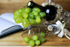 Wino butelki książkowy i szklany winogrono Obrazy Royalty Free