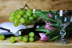 Wino butelki książkowy i szklany winogrono Obraz Stock