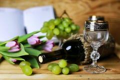 Wino butelki książkowy i szklany winogrono Obrazy Stock