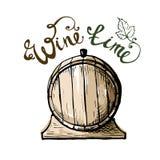 Wino czas Akwareli winogrona baryłka i liście Zdjęcia Stock