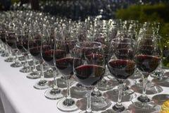 Wino degustaci wydarzenie przy nocą obrazy royalty free