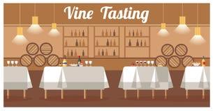 Wino degustacja w Luksusowego wytwórnia win Płaskim Wektorowym sztandarze ilustracji