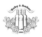 Wino etykietka z butelkami i winogronami Obrazy Royalty Free