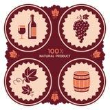 Wino etykietka z winogrona i baryłki ikonami Obrazy Stock