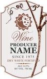 Wino etykietka z winoroślą, słońcem i księżyc, ilustracji