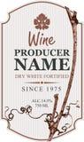 Wino etykietka z winorośli i winogrona liściem ilustracja wektor