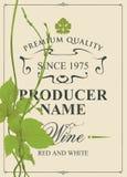 Wino etykietka z zielonym winogradem i winogradów liśćmi ilustracja wektor