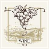 Wino etykietki krajobrazu i winogrona wektorowy logo dla wytwórnii win ilustracja wektor