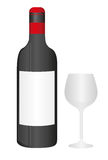 Wino filiżanka butelka i Obraz Royalty Free