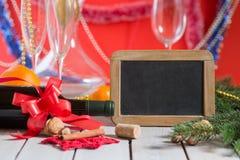 Wino i blackboard Zdjęcia Royalty Free