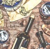 Wino i crostini z pastą avocado Fotografia Stock