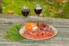 Wino i jedzenie Obrazy Royalty Free