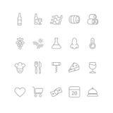 Wino ikony ustawiać - szkło, butelka, restauracja ilustracja wektor