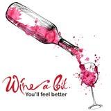 Wino ilustracja - nakreślenia i sztuki styl ilustracji