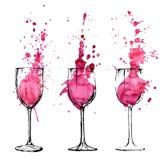 Wino ilustracja - nakreślenia i sztuki styl Zdjęcia Stock