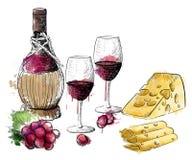 Wino kolekcja wina szkła winogron gronowa gałązka remisu ręki papieru watercolours Obraz Royalty Free