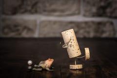 Wino korka postać, pojęcie bajki żaby książe Fotografia Royalty Free