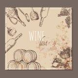 Wino listy karty Menu kart nakreślenie Zdjęcia Royalty Free