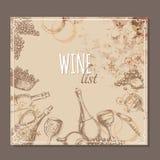 Wino listy karty Menu kart nakreślenie Obraz Royalty Free