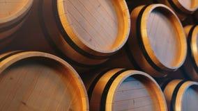 Wino lub whisky w kryptach Baryłka w piwnicie Wino, piwo, whisky baryłki brogować przy magazynem zapętlający zbiory wideo