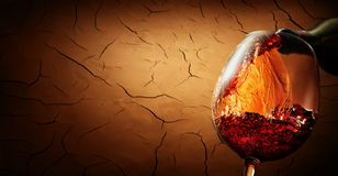 Wino na krakingowym glinianym tle Obraz Stock