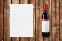 Wino papier dla wino listy i butelka Zdjęcie Stock
