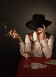 wino piękna czarny szklana kapeluszowa kobieta Zdjęcia Stock