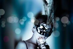 wino piękna maskowa kobieta Zdjęcie Royalty Free