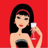 wino piękna szklana kobieta royalty ilustracja