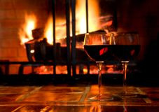 wino przy świecach Fotografia Royalty Free