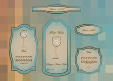 Wino przylepia etykietkę inkasowego białego wino, Szklany logo ilustracji