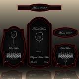 Wino przylepia etykietkę inkasowy czerwony i czarnego ilustracja wektor