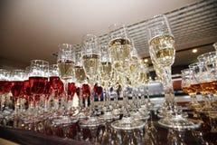Wino, szampan, koniaków szkła Fotografia Royalty Free
