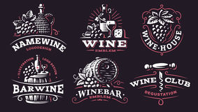 Wino ustalony logo - wektorowe ilustracje, emblematy na ciemnym tle ilustracji