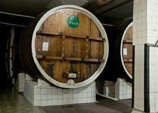 Wino w dużych drewnianych baryłkach w Massandra wytwórnii win, Yalta, Crimea Obraz Royalty Free