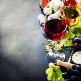 Wino, winogrono i ser, obraz royalty free