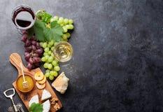 Wino, winogrono, ser i miód, fotografia stock