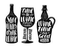 Wino, wytwórnii win etykietki set Inkasowi dekoracyjni elementy dla menu restauraci lub kawiarni, bar Literowanie, kaligrafia wek Fotografia Royalty Free