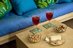 Wino z przekąskami Fotografia Royalty Free