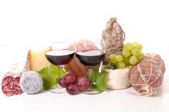 Wino z salami i serem zdjęcie royalty free