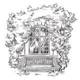 Winogrady i ławka Wygodny miejsce ilustracji