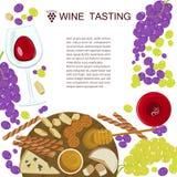 Winogrona, mi?d, ser z szk?em wino fotografia royalty free