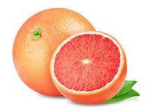 winogrona Różowi grapefruits na białym tle z ścinek ścieżką, Obrazy Royalty Free