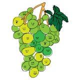 Winogrona z twarzy emocji ręką rysującą obraz royalty free