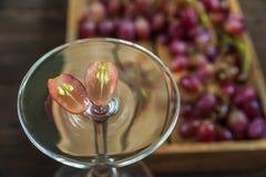 Winogrona z ziarnami, cięcie w połówce zamykają w górę i kopiują przestrzeń Wielka wiązka dojrzali winogrona w szkle na tle ciemn zdjęcie royalty free